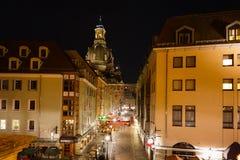 Munzgasse - calle peatonal en Dresden foto de archivo