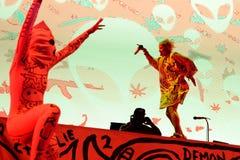 Muore Antwoord (banda di rave di rap) esegue al festival del sonar fotografia stock