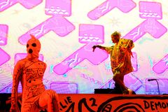 Muore la banda di rave di rap di Antwoord esegue al festival del sonar Immagini Stock