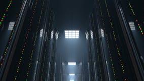 Muovendosi con il centro dati scuro della stanza del server, ciclo stock footage