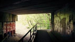 Muovendosi sotto il ponte con i graffiti sulle pareti stock footage