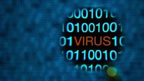 Muoversi della lente d'ingrandimento da sinistra a destra, zeri ed un, blu, parola rossa del virus archivi video