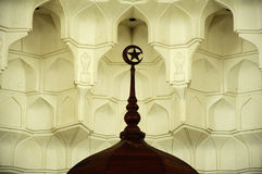 Muqarnas and wooden crescent at Sultan Ismail Airport Mosque - Senai Airport Stock Photography