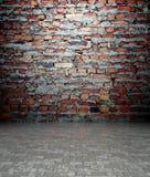 mur 3d avec la texture de brique, intérieur vide Photos libres de droits