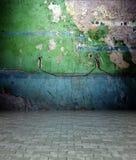 mur 3d avec la texture de peinture d'écaillement, intérieur vide Images libres de droits