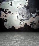 mur 3d avec la texture de peinture d'écaillement, intérieur vide Photo libre de droits