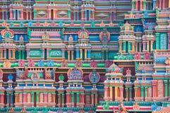 Mur admirablement découpé de temple dans l'Inde Photographie stock