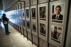 Mur américain de présidents, bibliothèque présidentielle de LBJ Images libres de droits