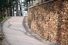 Mur antique de chemin pavé avec des briques en parc images libres de droits