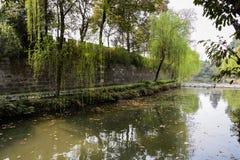 Mur antique de ressort de côté verdoyant, Chengdu Images libres de droits
