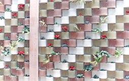 Mur arrondi de bloc de ciment avec des usines photos libres de droits