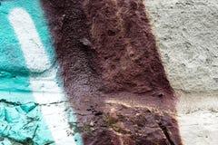 Mur avec la fin de graffity vers le haut de la peinture de photo image stock