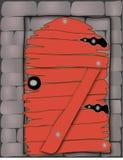 Mur avec la trappe en bois Images libres de droits