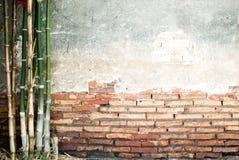 Mur avec le bambou Photographie stock libre de droits