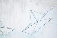 Mur avec le graffiti de bateau image libre de droits