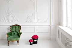 Mur avec le stuc Roses roses dans la boîte noire  Cadeau parfait dans l'intérieur de luxe du salon Copiez l'espace Photographie stock