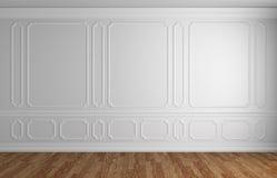 Mur blanc à l'arrière-plan architectural de pièce vide classique de style Photo libre de droits
