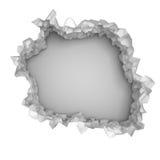 Mur blanc cassé par explosion avec le trou criqué Backgrou abstrait Photographie stock