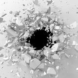 Mur blanc cassé par explosion avec le trou criqué Backgrou abstrait Photos stock