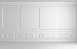 Mur blanc dans la pièce vide sans couleur de style classique Image libre de droits