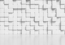 Mur blanc de cubes et fond brillant blanc du plancher 3d illustration de vecteur