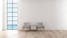 Mur blanc de plancher en bois intérieur moderne de salon chaise dans le rendu de l'été 3d de vue de mer de fenêtre de salon illustration stock
