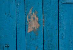 Mur bleu naturel en bois de grange Photographie stock