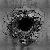 Mur cassé criqué foncé dans le mur en béton Fond grunge Photos libres de droits
