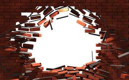 Mur cassé par briques Photos libres de droits