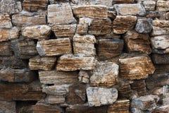 Mur construit de la pierre normale rugueuse Photographie stock