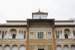 Mur décoré de palais d'Alcazar Image libre de droits