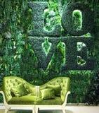 Mur d'intérieur d'herbe verte et d'usine avec le mot d'amour et le sof classique Photos stock