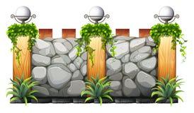 Mur de briques avec la lampe et l'herbe illustration stock
