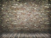 Mur de briques avec le plancher en bois Images libres de droits