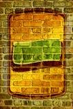 Mur de briques avec le rétro film publicitaire blanc Photo libre de droits