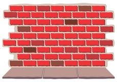 Mur de briques avec le trottoir Images libres de droits