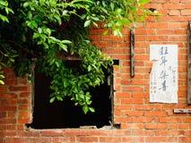 Mur de briques avec un arbre bloquant la vieille fenêtre images libres de droits