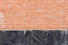 Mur de briques avec une imperméabilisation Image stock