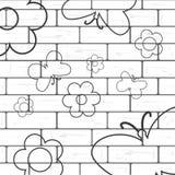Mur de briques blanc avec le fond de flover et de papillon illustration stock