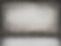 Mur de briques blanc avec le plancher blanc Image stock