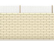 Mur de briques blanc complété avec le barbelé â2 illustration libre de droits