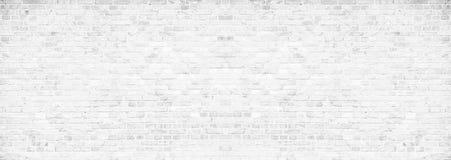 Mur de briques blanc sale simple avec le fond gris-clair de texture de surface de modèle de nuances dans le format large de banni photo stock