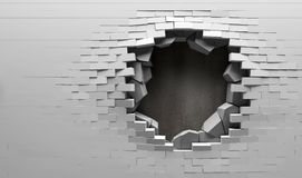 Mur de briques cassé avec derrière de plaque métallique Image libre de droits