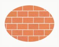 Mur de briques dans le cadre ovale blanc avec la texture rayée, brique des briques rouges ordinaires, grunge illustration de vecteur