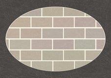 Mur de briques dans le cadre ovale gris-foncé avec la texture rayée, grunge, brique des briques grises ordinaires illustration de vecteur