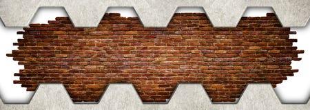 Mur de briques dans un cadre en métal Fond grunge, 3d, illustration Photo libre de droits