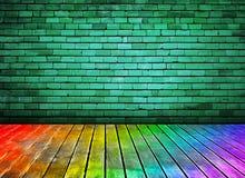 Mur de briques de cru et texture en bois colorée d'étage Image stock