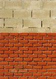 Mur de briques de rouge orange en construction Images stock