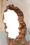 Mur de briques de trou Image libre de droits