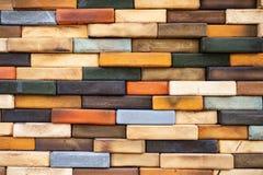 Mur de briques en bois coloré détaillé #2 photo libre de droits